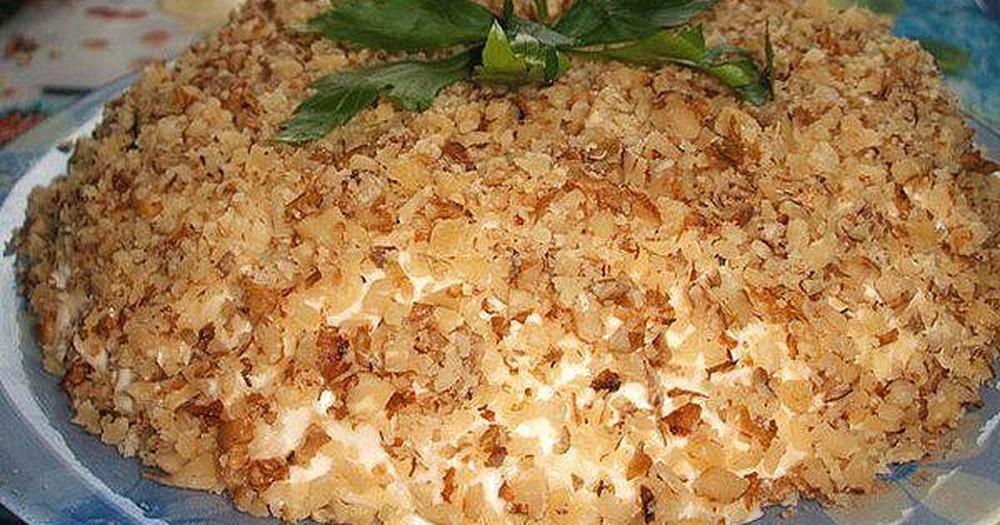 Рецепт салата с грецкими орехами с фото пошагово в